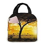 Bolsa de almuerzo con paisaje de puesta de sol de árbol, bolsa de asas, caja de almuerzo, contenedor de almuerzo aislado para mujer, hombre