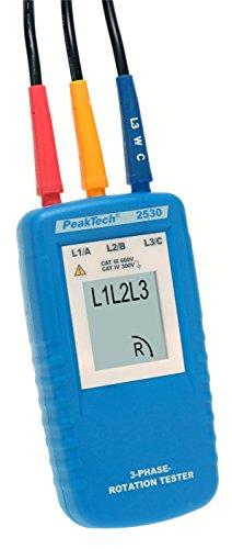 Peak Tech 3fases de dirección del giro indicador/drehfeldtester con pantalla LCD, 1pieza, P 2530