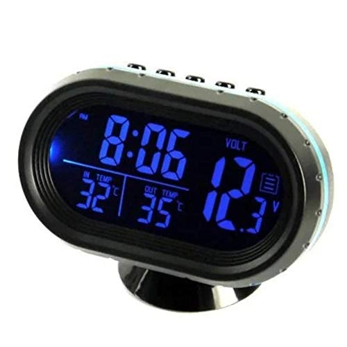 Umisu - Reloj de termómetro digital para coche, 4 en 1, alarma, monitor de voltaje, reloj LCD, retroiluminación, 12/24 horas, indicador de temperatura, color azul