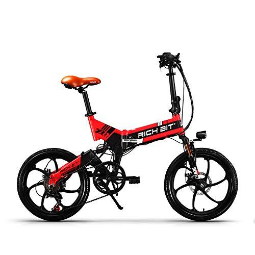 RICH BIT TOP-730 Cambio Shimano a 7 velocità Motore con mozzo con ingranaggi 250W Batteria 48V / 8Ah Bicicletta elettrica da città pieghevole (Black-Red)