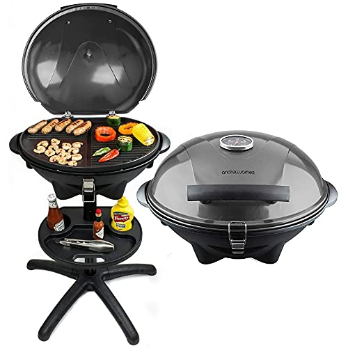 Andrew James BBQ Electric Grill Barbecue with 5 Temperature Settings Grey   Thermostat   Indoor & Outdoor Party   Removable Drip Tray & Condiment Stand   Healthy Grilling   Non-Stick Cooking Surface