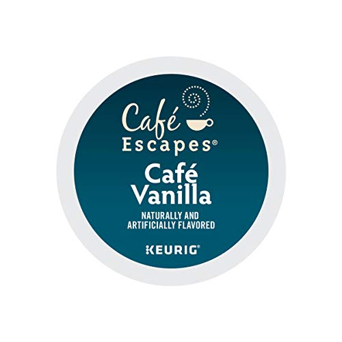 Cafe Escapes, Cafe Vanilla Coffee Beverage, Single-Serve Keurig K-Cup Pods, 96 Count (4 Boxes of 24 Pods)