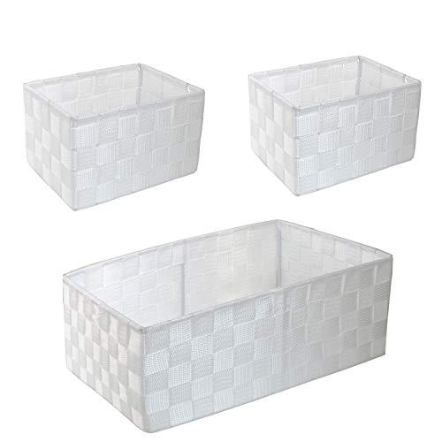 WM Homebase 3er Set Aufbewahrungskörbe geflochten Aufbewahrungskorb Polypropylen Badkorb in Weiß