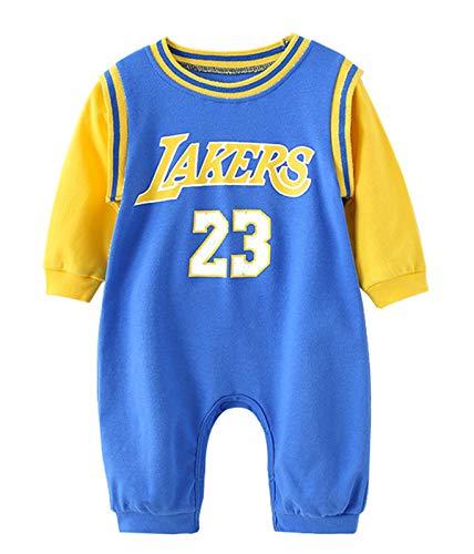 Body de manga larga Lakers James # 23 Bebé recién nacido Mini camiseta de baloncesto, Baby jersey-manga corta Stuff set 0-24 meses, 123, azul, 80(cm)