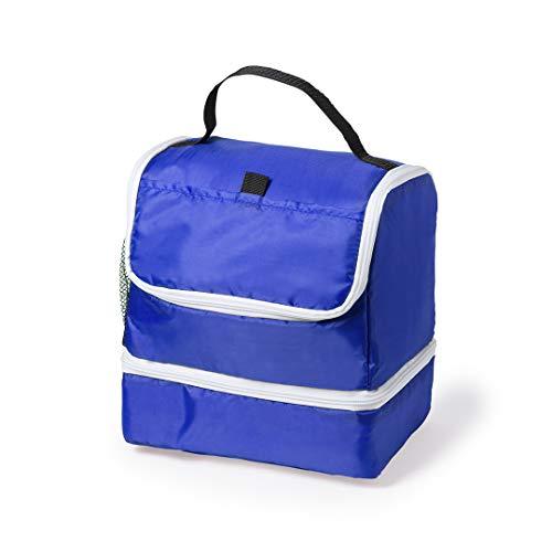Frigorifero da spiaggia con 2 scomparti con cerniera e una tasca leggera e pratica (blu)