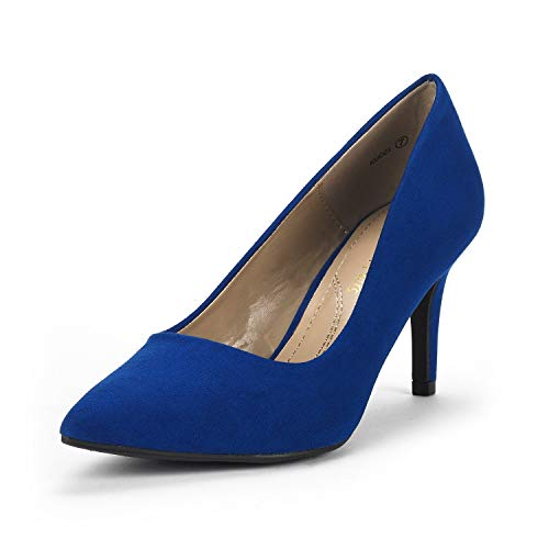 DREAM PAIRS Women's KUCCI Royal Blue Classic Fashion Pointed Toe High Heel Dress Pumps Shoes Size 9 M US