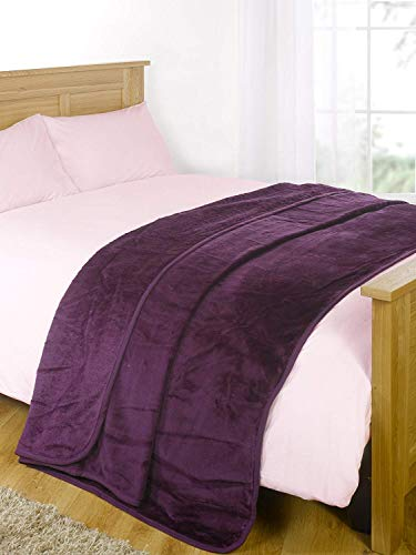 Dreamscene Luxury Faux Fur Large Mink Throw Over Sofa Warm Blanket King - 200 x 240cm, Grape Purple