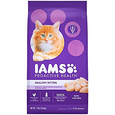 IAMS PROACTIVE HEALTH HEALTHY KITTEN Dry Cat Food with Fish Oil and Chicken, 7 lb. Bag