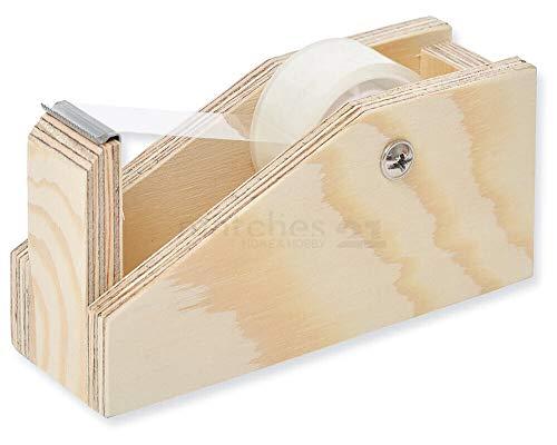 Matches21 - Dispensador de cinta adhesiva extra robusta, de madera, para niños a partir de 11 años