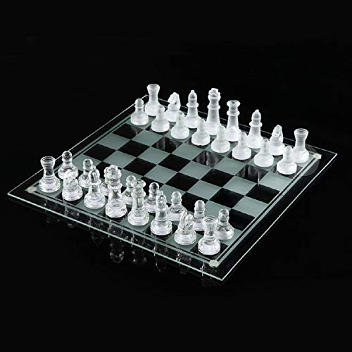 Kicko Glass Chess Set - 33 Pieces - Transparent Board Game with Frosted and Clear Pieces, Felt Bottom, and Storage Case with Carrying Handle - for Family Game Night, Kids, Boy or Girl (7.5 Inch)