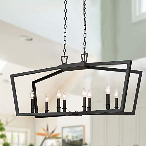 KSANA Black Chandelier, Modern 8 Lights Metal Light Fixture for Dining Room and Kitchen Island
