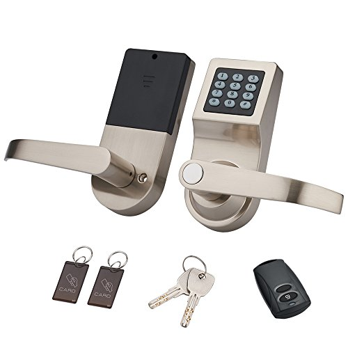 HENYIN Digital Door Lock,Unlock with M1 Card, Code and Key,Handle Direction Reversible (Card+Remote)