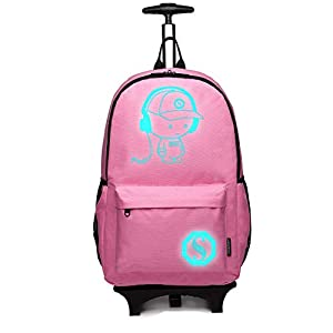 Kono Anime Cartoon Luminous música Boy Backpack Escuela Estudiante Mochila de Moda, Mochila Escolar Unisex Bookbag Maleta De Viaje Trolley Ordenador Mochila (Rosa)