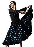 Gojoy shop- Traje Profesional de Baile Danza Flamenco o Sevillanas para Mujer de 2 Piezas (Contiene Body con Doble Volantes en Manga y Falda de Lunares en 6 Colores Disponibles) (S, Azul)