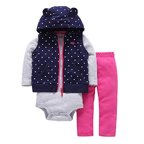 FYMNSI Conjunto de ropa para recién nacido, 3 piezas, con capucha, pantalones y pelele para otoño e invierno, para 3-24 meses azul marino 12-18 Meses