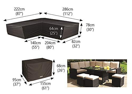Bosmere Protector 6000 Modular L Shape Dining Set Cover, Right Side Long, Large – Black, M668