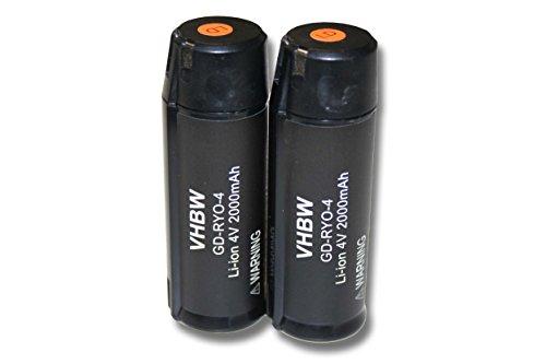 vhbw 2x Li-Ion Akku 2000mAh (4V) für Werkzeuge Ryobi RP4520 Ryobi RP4530 Akku Gehörschutz, Ryobi Tek4 RP4300 wie Ryobi AP4001.
