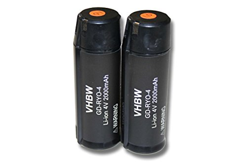 Lot de 2 batteries vhbw 2000mAh (4V) pour outils Ryobi RP4520, protectiion auditive Ryobi RP4530, Ryobi Tek4 RP4300. Remplace: Ryobi AP4001.