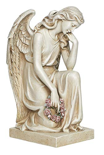 Joseph's Studio by Roman - Kneeling Angel on The Base Statue, 17.75' H, Memorial Garden Collection, Resin and Stone, Decorative, Religious Gift, Home Outdoor and Indoor Decor, Durable, Long Lasting