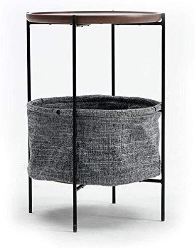 Hermosamente Mesilla Tabla Final Mesas auxiliares mesa auxiliar de madera sólida pequeño sofá de almacenamiento de tabla lado, la cesta del almacenaje End / Mesita, MDF con marco de chapa de madera de