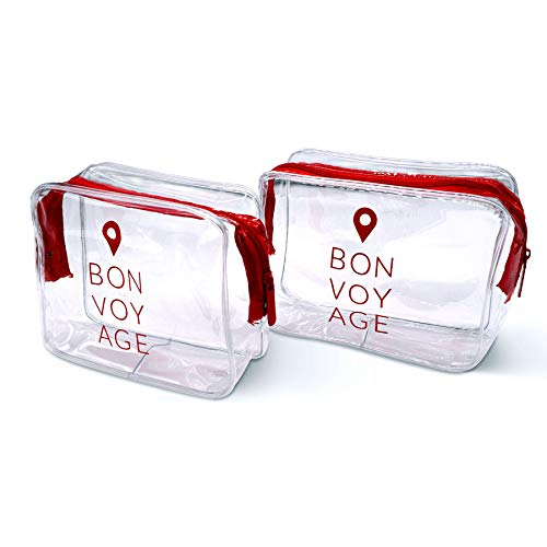 TSA Approved Toiletry Bag For Liquids, Carry On Zippered Pouch, Clear Airline Compliant 3-1-1 Quart Size Vinyl Pouch For Travel, Makeup, Cosmetics, Bottles, Organizing, Storage - 8x2.8x6, 2 Pcs.