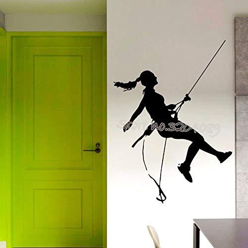 Klettern Wandaufkleber Alpinist Sportlerin Extreme Sport Silhouette Aufkleber Home Decor Wandbild Vinyl Climber poster 56 * 77 CM