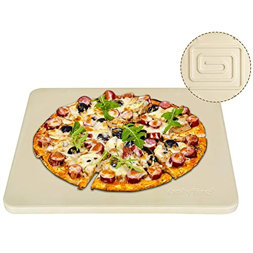 Onlyfire Heavy Duty Ceramic Pizza Grilling Stone, 14' x 16' Rectangular Baking Stone for Best Crispy Crust Pizza, Perfect for Oven, BBQ and Grill, Thermal Shock Resistant