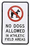 HUIOP No se admiten perros en áreas de campo atlético con diseño gráfico negro original vintage reglas de barra de metal estaño arte de pared señalización 20 x 30 cm