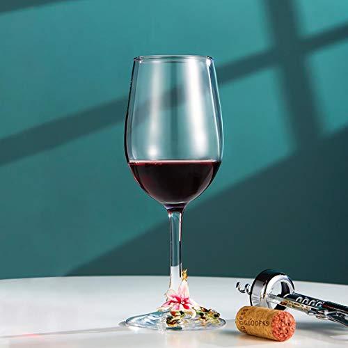 Vaso de vino pintado a mano, esmalte pintado con flor sin plomo para beber y regalo (taza rosa de lirio de pie)