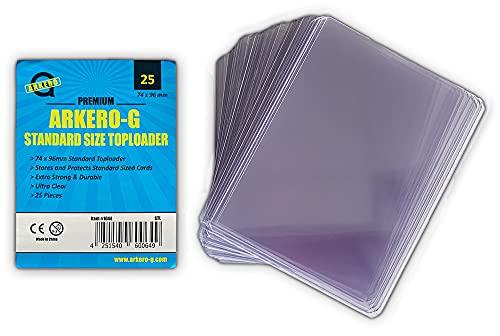 Arkero-G® 25 Standard Toploader Schutzhüllen für Standard Sammel-Karten z.B. Pokemon, MTG Magic, Dragonball, Trading Card Game Spiele