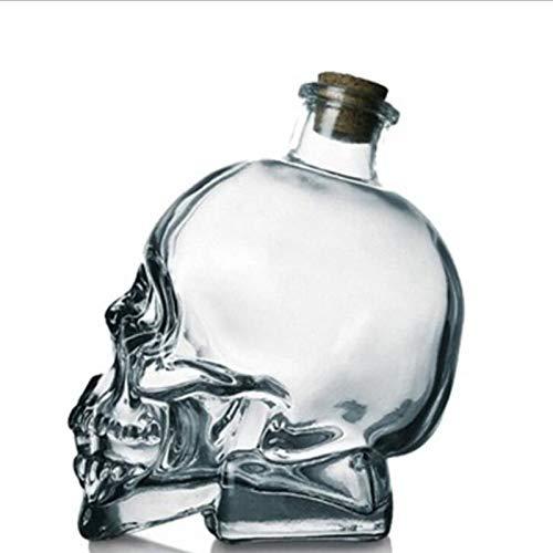 AFDLT Botella de Vidrio con Forma de Calavera,Botella del cráneo de los decantadores del Licor,Idea de Regalo para Navidad o para Una Noche Divertida,750ML