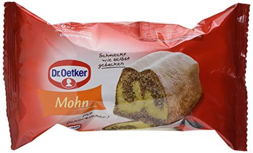 Dr. Oetker fertiger Mohnkuchen, 4er Pack (4 x 350 g), Rührkuchen mit Mohn, mit feinem Dekorzucker, sofort verzehrfertig, Kuchen für spontane Anlässe, wie selbstgebacken