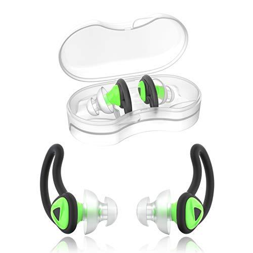 Hearprotek 2 Pares De Tapones para Los Oídos De Nadador, Upgraded Silicona Ajuste Personalizado Protección De Agua Natación Tapones para Los Oídos para Nadadores De Ducha De Agua Baño (Verde)