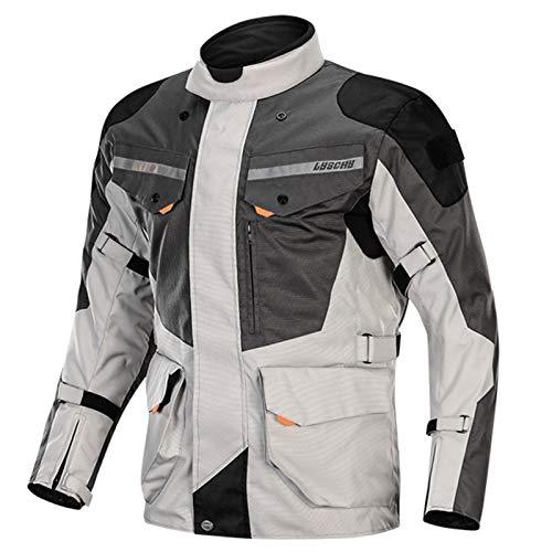 QQA Herren Motorradjacke mit Protektoren Motorrad Jacke Textiljacke, Herren, Sportler, Ganzjährig,Weiß,XXXXXL