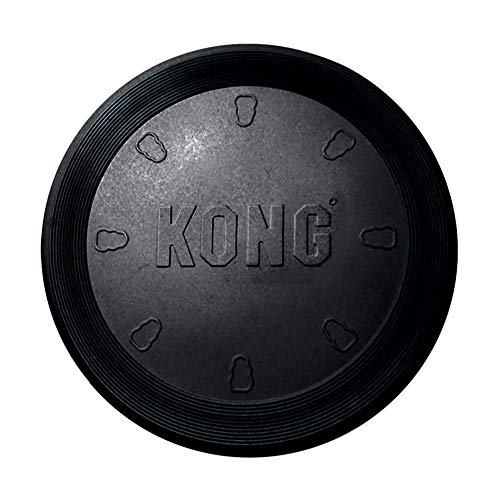 KONG - Extreme Flyer - Durable Rubber, Soft Flying Disc for Power Chewers, Black - Large Dogs