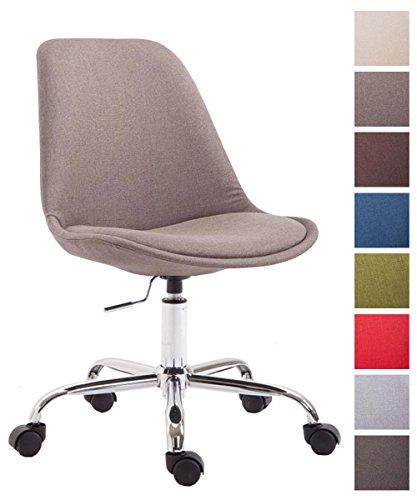 CLP Bürostuhl Toulouse mit Stoffbezug | Schreibtischstuhl mit Laufrollen | Drehstuhl mit Metallgestell in Chrom-Optik | Mit Farbwahl Taupe