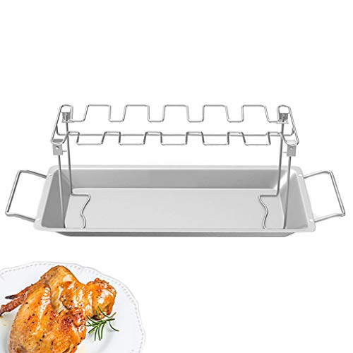 JIACUO Gereedschap Kip Vleugelbeen Rek voor Grill Roker Oven RVS Verticale Roaster Stand in BBQ Safe Barbecue Accessoires grill