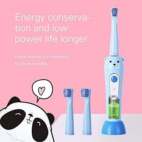 Kids Sonic Elektrische Tandenborstel USB Oplaadbare Beer Jongen Meisje Elektrische Tandenborstel 2 Borstel Hoofden Ipx7 Waterdicht Blauw