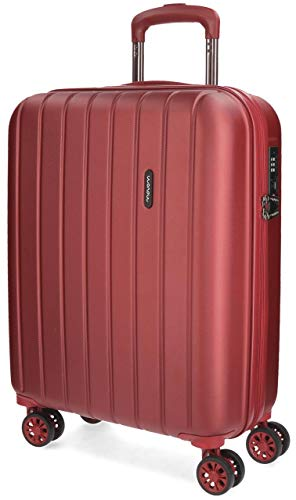 Movom Wood Maleta de cabina Rojo 40x55x20 cms Rígida ABS Cierre TSA 38L 2,9Kgs 4 Ruedas Dobles Equipaje de Mano