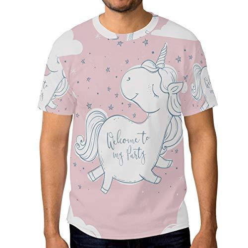 DEZIRO Heerlijk Eenhoorn Ontwerp Heren Werkkleding T-Shirt Short-Sleeve