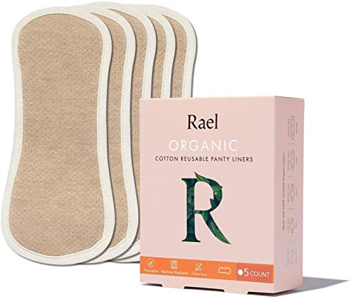 Rael Organic Reusable Cloth Pantyliners - Soft and Thin, Leak Free, Washing Machine Safe, Daily Pantyliner, Set of 5 (Tan)