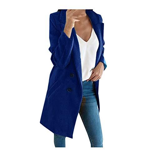 iHENGH Damen künstliche Wolle Elegante Mischungs Mantel dünne weibliche Lange Mantel Oberbekleidung Jacke(Dunkelblau-1, S)