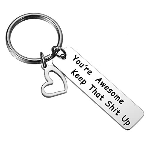 JZSTA Awesome Coworker Friend Boss Keychain - You are Awesome Keep That Shit Up Keychain Valentine's Day Christmas Hanukkah Gift