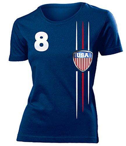 USA 3300 Fussball Fanshirt Fan Shirt Tshirt Fanartikel Artikel Frauen Damen T-Shirts Navy L