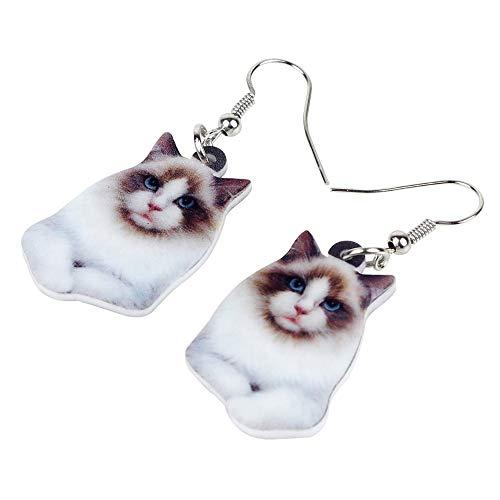 XUBB - Pendientes de gato siamés de acrílico, diseño de gata grande y larga, para mujeres,...