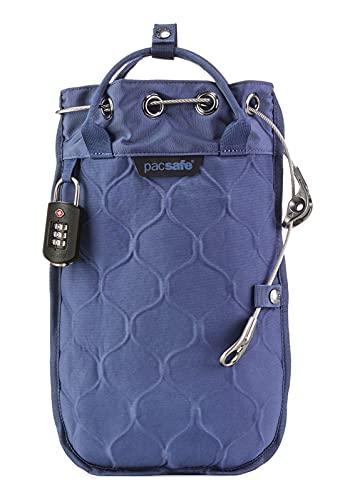 Pacsafe Travelsafe 3L GII - Mobiler Safe mit TSA-Zahlen Schloß, Trage-Tasche mit Anti-Diebstahl Technologie, 3 Liter Volumen, Blau/Storm