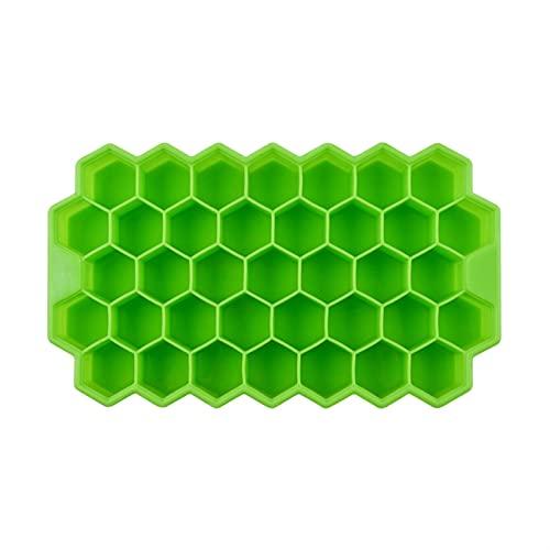 JIEGEGE Silikolove Honeycomb Bandejas de Cubitos de Hielo con Tapas extraíbles Silica Gel Hielo Cube Molde BPA Gratis (Color : GeenNoLid)
