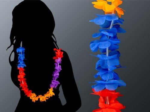 Alsino Hawaïïaanse kettingen set bloemenkettingen Hawaïaanse kettingen slingers 60 stuks 1 m rood blauw oranje paars Hawaïdecoratie party-accessoire