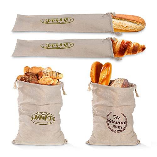 Leinen-Brotbeutel, 4 Stück, extra groß, ungebleicht, Brotbeutel, wiederverwendbar, mit Kordelzug, Lebensmittelaufbewahrung, ideal für Brot, Baguette und hausgemachtes Handwerksbrot