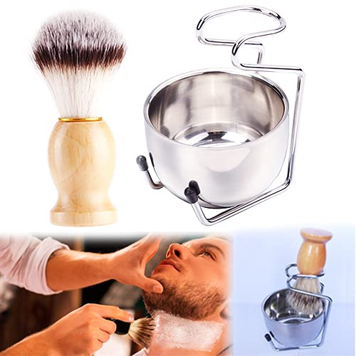 3 in 1 Shaving Brush In stock Manufacturer OFFicial shop and Bowl Stainl Set Stand